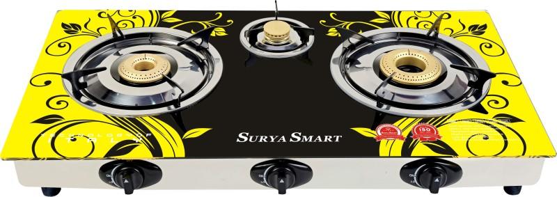 Surya Smart Steel, Glass Automatic Gas Stove(3 Burners)