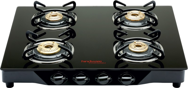 Hindware Armo Black Stainless Steel, Glass Automatic Gas Stove(4 Burners)
