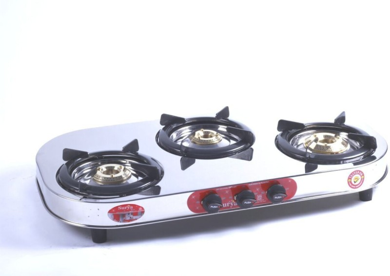 Surya Care Stainless Steel Manual Gas Stove(3 Burners)