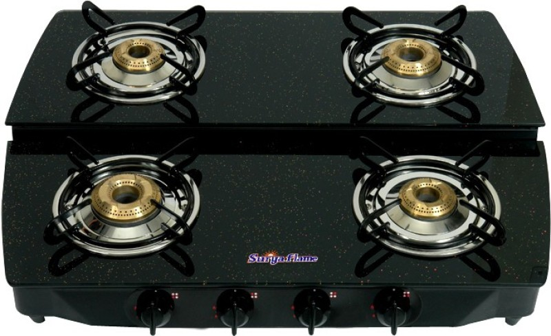 Suryaflame Stepper Glass, Stainless Steel Manual Gas Stove(4 Burners)