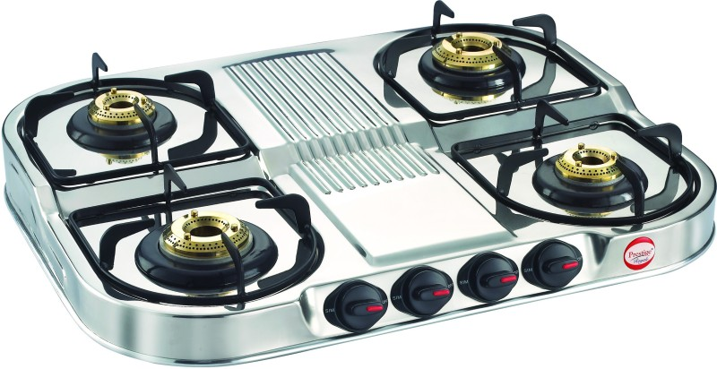Prestige Royale Stainless Steel Manual Gas Stove(4 Burners)