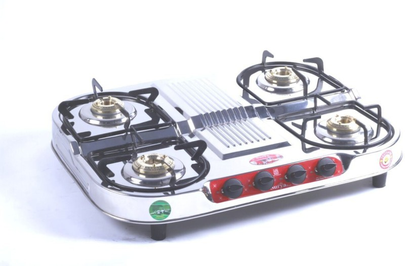 Surya Care Stainless Steel Manual Gas Stove(4 Burners)