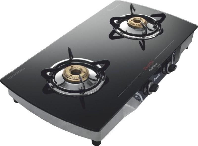 Preethi Blu Flame Streak Glass Manual Gas Stove(2 Burners)