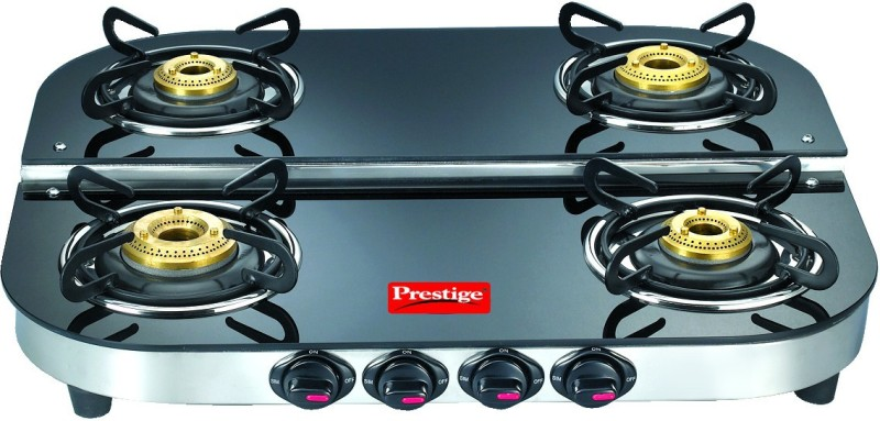 Prestige Royale Duplex Glass, Stainless Steel Manual Gas Stove(4 Burners)