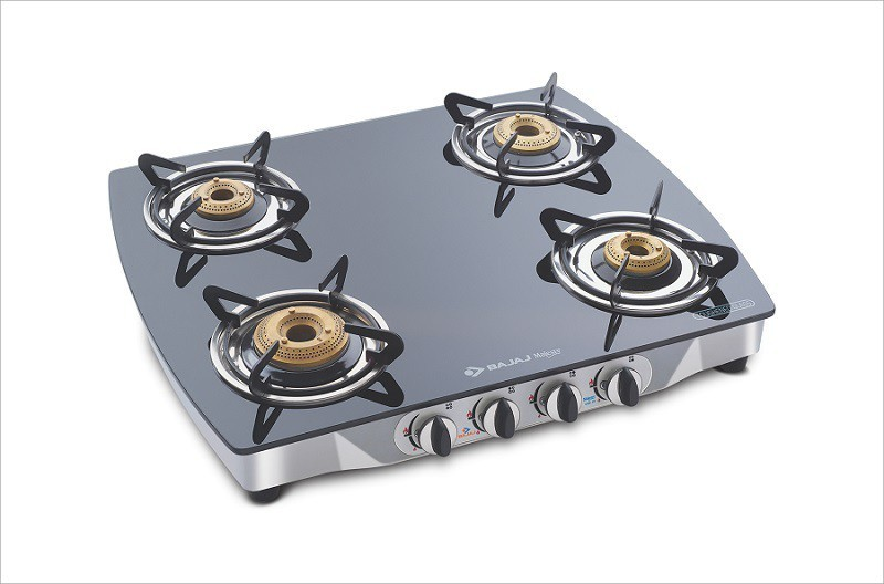 Bajaj CGX 10 Curved Body Glass, Stainless Steel Manual Gas Stove(4 Burners)