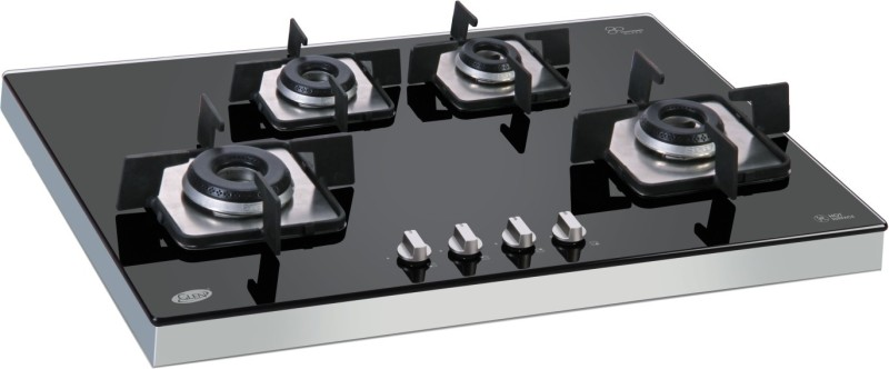 GLEN Built in Glass Hob 1074 SQF IN Glass Automatic Gas Stove(4 Burners)