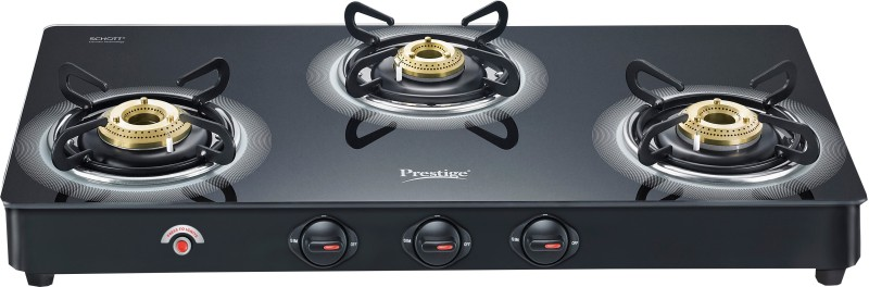 Prestige Royale Plus Glass, Aluminium Automatic Gas Stove(3 Burners)