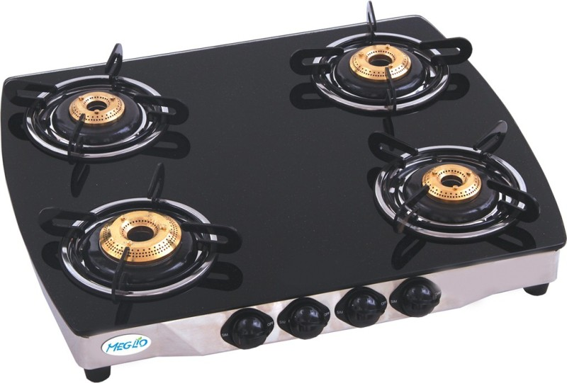 Meglio Glass Manual Gas Stove(4 Burners)