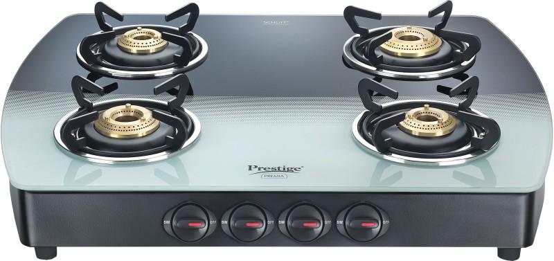 Prestige Premia Glass Manual Gas Stove(4 Burners)