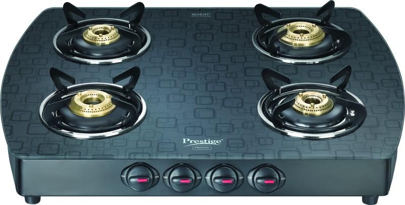 Prestige Schot Glass Stove Glass, Aluminium Manual Gas Stove(4 Burners)