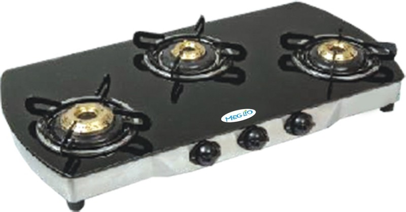Meglio Glass Manual Gas Stove(3 Burners)