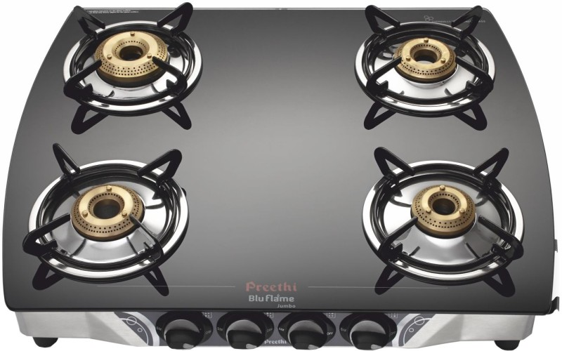 Preethi Blu Flame Jumbo Glass Manual Gas Stove(4 Burners)