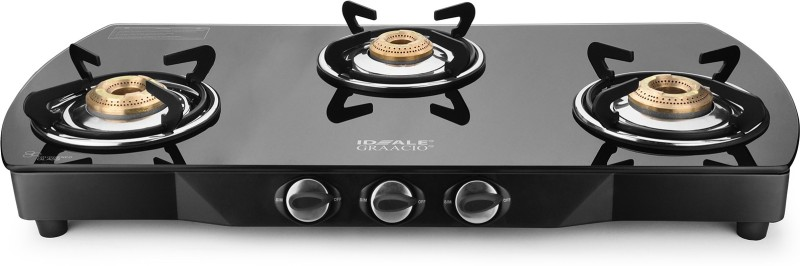 Ideale Graacio TIANO Burner Glasstop Glass, Stainless Steel Manual Gas Stove(3 Burners)