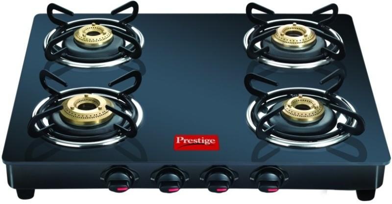 Prestige Prestige GTM 04 Black Glass Manual Gas Stove(4 Burners)