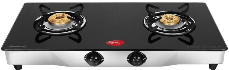 Pigeon Blackline Square Stainless Steel, Glass Automatic Gas Stove(2 Burners)