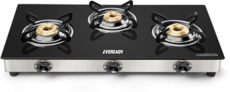 Eveready Glass, Stainless Steel Manual Gas Stove(3 Burners)