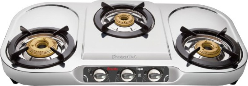 Preethi Blu Flame Topaz Stainless Steel Manual Gas Stove(3 Burners)