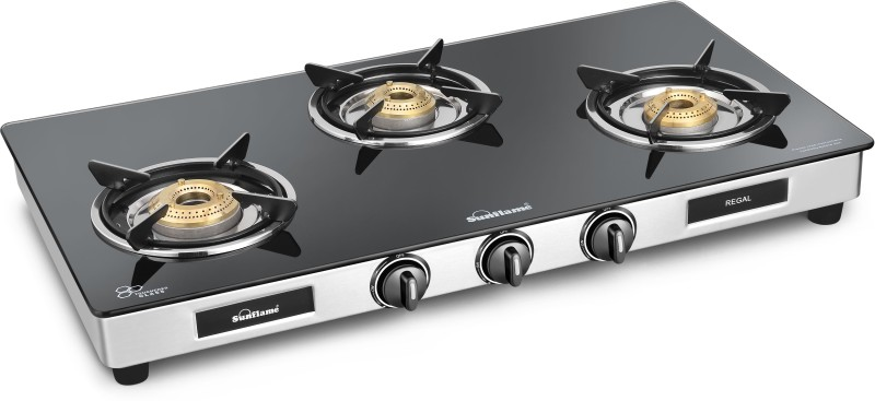Sunflame Regal Glass, Stainless Steel Manual Gas Stove(3 Burners)