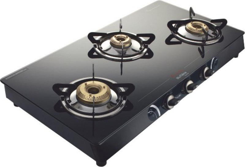 Preethi Blu Flame Sparkle Glass Manual Gas Stove(3 Burners)