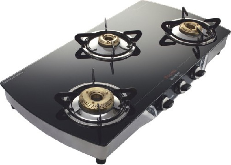 Preethi Blu Flame Blaze Glass Manual Gas Stove(3 Burners)