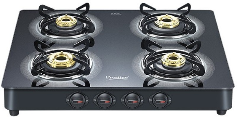 Prestige Royale Plus Glass, Aluminium Automatic Gas Stove(4 Burners)