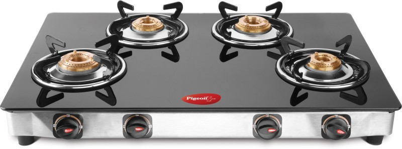 Pigeon Blackline Square Glass Manual Gas Stove(4 Burners)