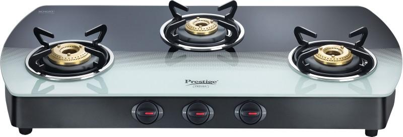 Prestige Premia Glass Manual Gas Stove(3 Burners)