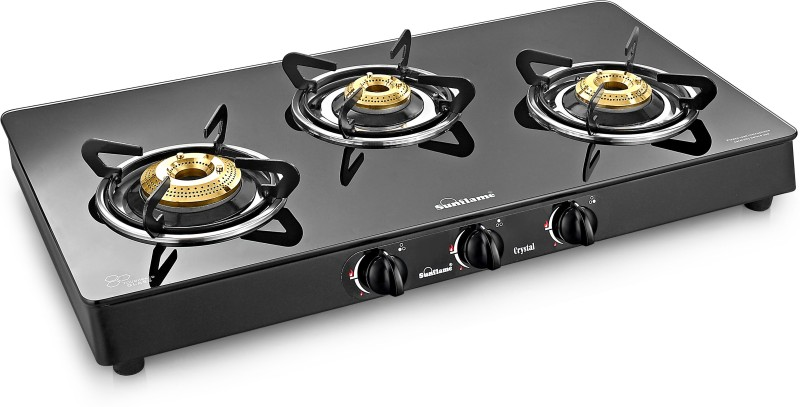 Sunflame Crystal Plus Glass, Stainless Steel Manual Gas Stove(3 Burners)