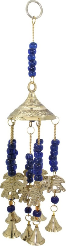 Frabjous Elephant Inlaid With Beads Work Brass Decorative Bell(Gold, Pack of 1)