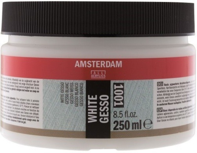 Royal Talens Amsterdam 1001 White Gesso for Temperas, Pastels, Portraits, Panels, Canvas, Oil Painting, Paint Formulations(Semi-liquid 250 ml)