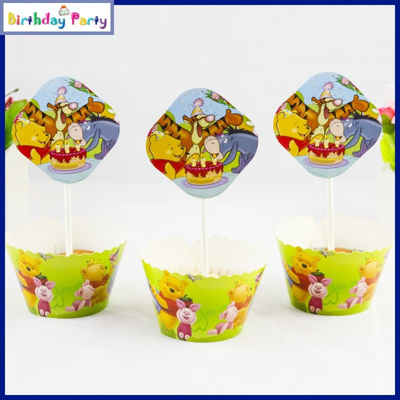 Funcart Winnie The Pooh theme cup cake wrapper Pooh paper Gift Wrapper(Mutlicolor)