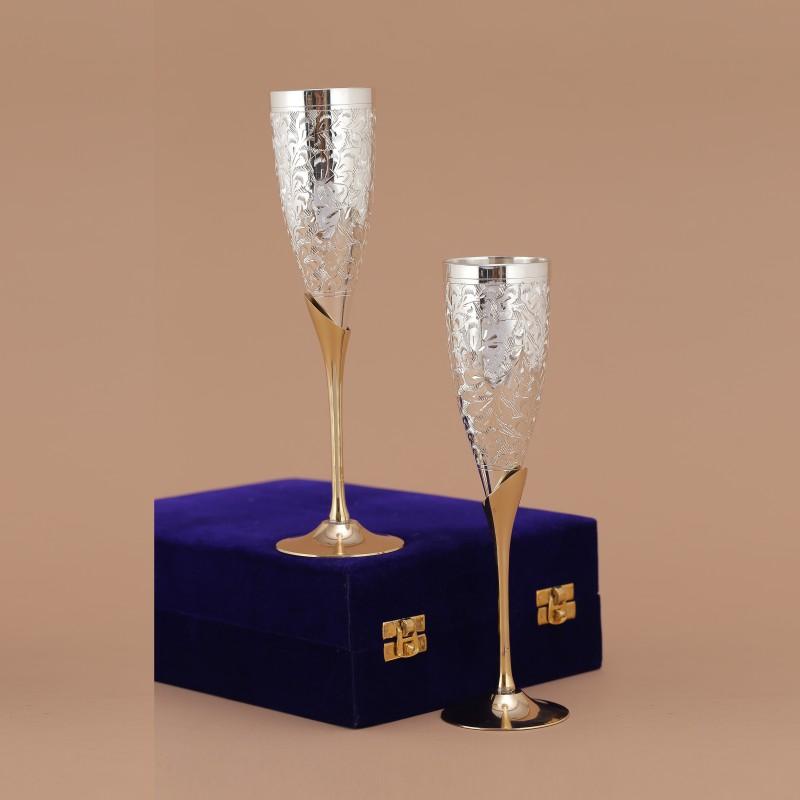 Indecrafts SV010 Glass Set(Brass, 100 ml, Silver, Pack of 2)