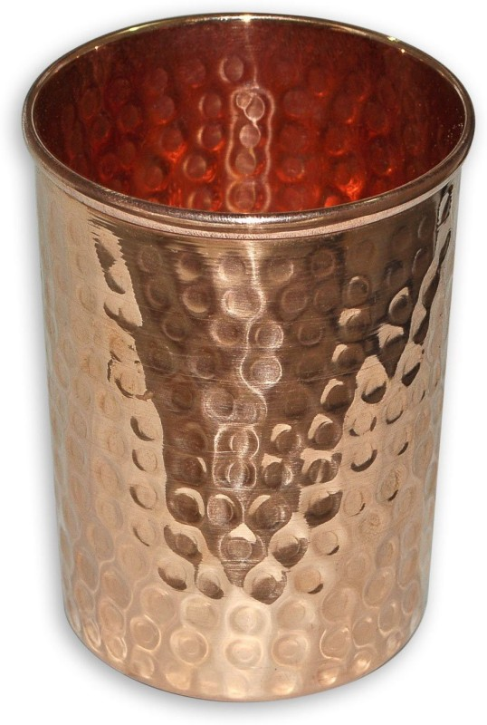 Qubic Inc Handmade pure Copper hammered glass Glass(250 ml, Brown, Pack of 1)