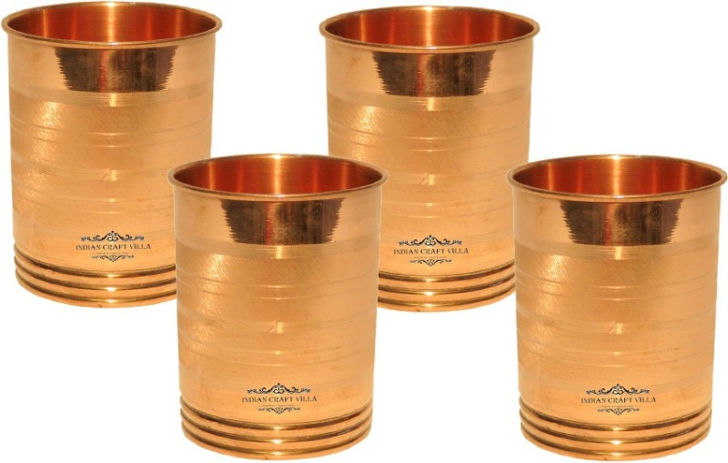 Indian Craft Villa Glass(1200 ml, Brown, Pack of 4)