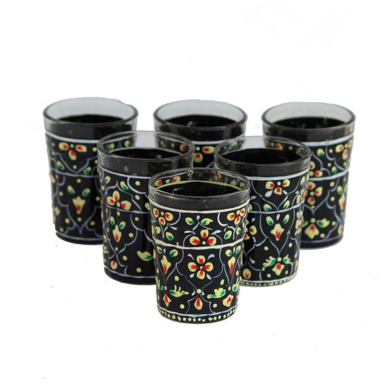 eCraftIndia AKWG116 Glass Set(Glass, 50 ml, Black, Pack of 6)