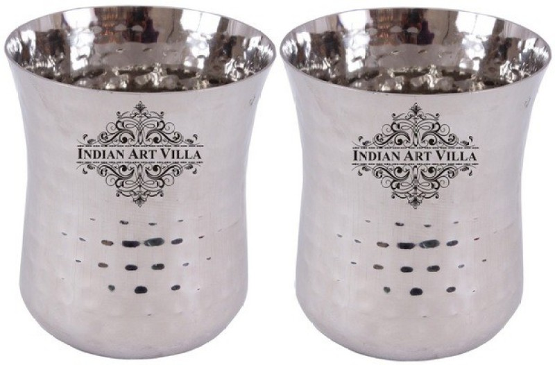 IndianArtVilla Glass Set(700 ml, Silver, Pack of 2)