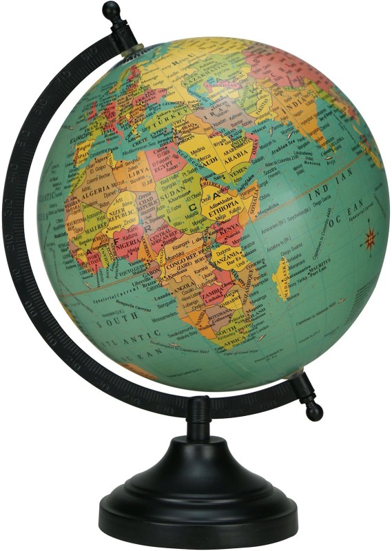 Globeskart Designer Antique Green Desk & Table Top Political World Globe(Medium Green)