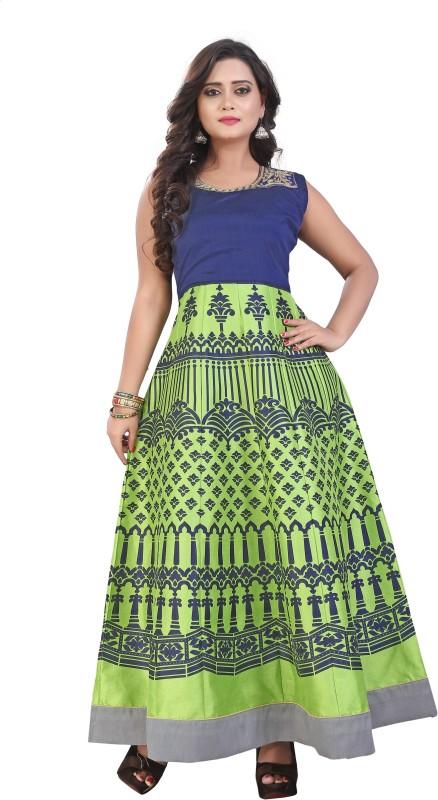 Saumya Designer Flared/A-line Gown(Green, Blue)
