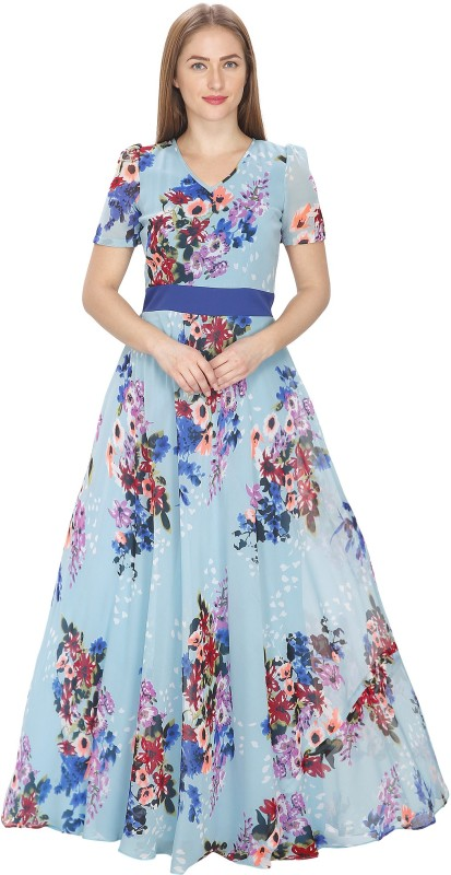 Just Wow Flared Gown(Blue)