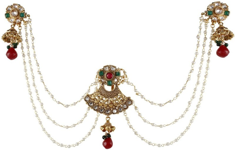 9blings Traditional Style Revers Ad Ruby Pearl Copper Bun Pin Earrings Hair Accessories Hair Accessory Set(Multicolor)
