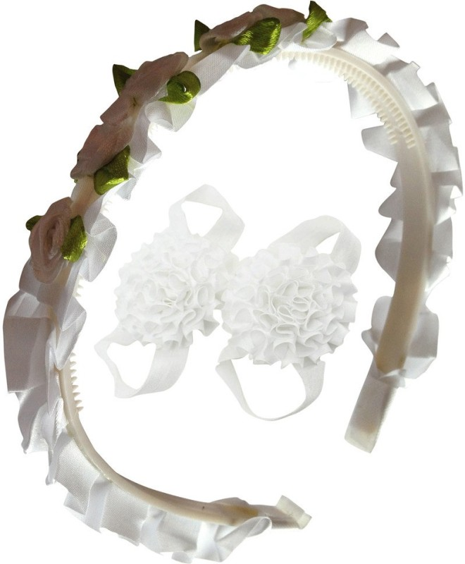 AkinosKIDS Roses Flower Bunch Crown for Little Princess and satin flower kids Barefoot shoe set. Hair Accessory Set(White)