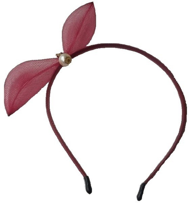 Viva Fashions Pearl Centered Bow Hair Band(Maroon)