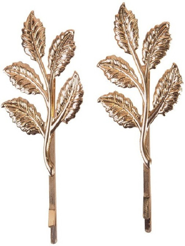 Aaishwarya Leaf Motif Golden Hair Clip(Gold)