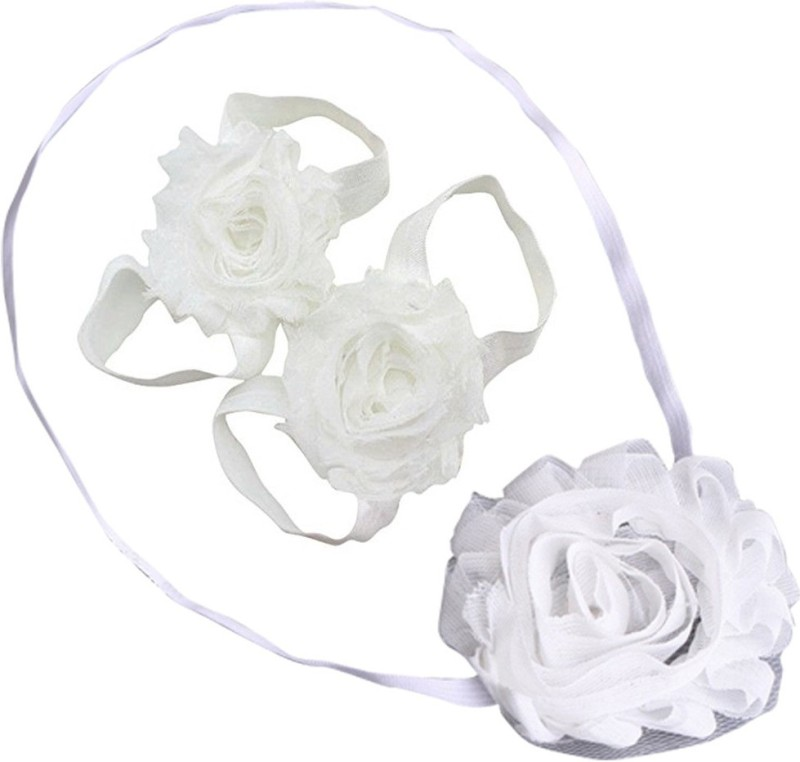 AkinosKIDS Newborn Soft Shabby Flower and Barefoot Sandal Shoe Set Hair Accessory Set(White)
