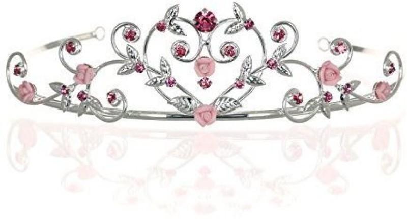 Venus Jewelry Rose Flower Rhinestone Crystal Wedding Tiara Crown - Pink Roses Silver Plating by Venus Jewelry Hair Pin(Multicolor)