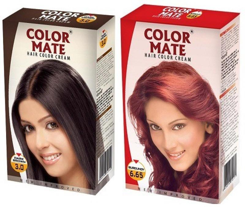 Color Mate Cream Hair Color(Dark Brown + Burgundy)