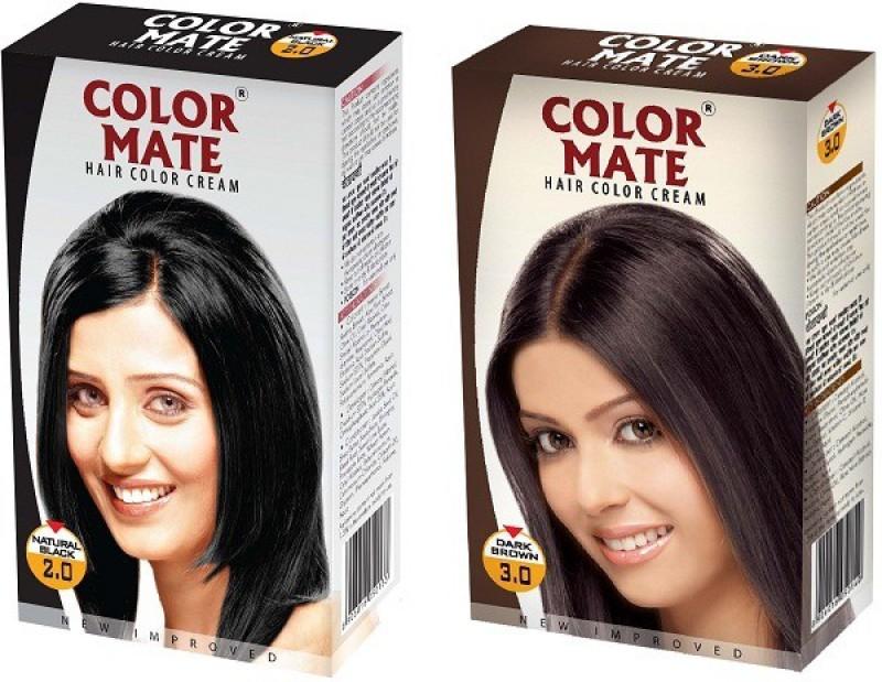 Color Mate Cream Hair Color(Natural Black, Dark Brown)