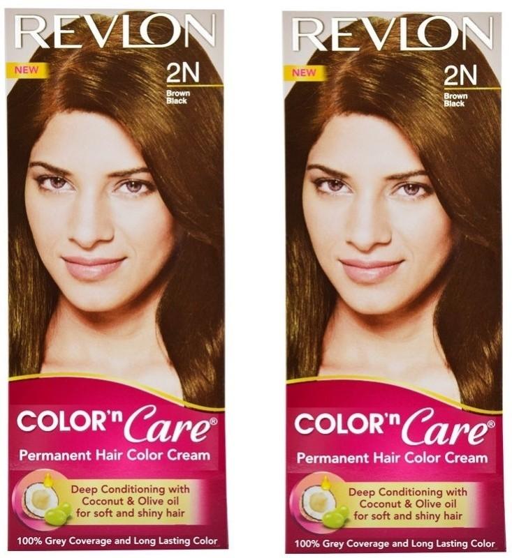 Revlon Color N Care Permanent Hair Color Cream - Brown Black 2N - Pack of 2 Hair Color(Brown Black)