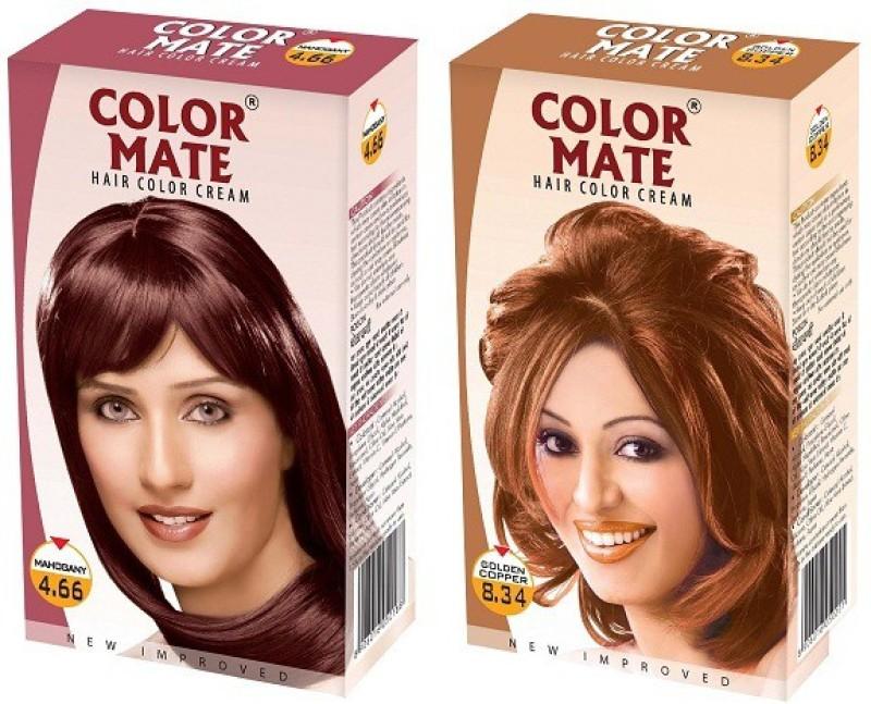 Color Mate Cream Hair Color(Mahogany + Golden Copper)