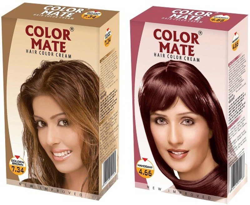 Color Mate Cream Hair Color(Golden Brown + Mahogany)